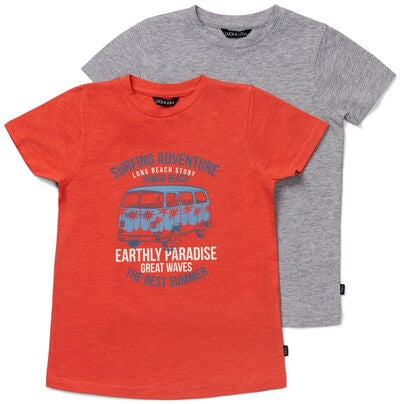 Luca & Lola Riccione T-Shirt 2-pack, Red/Grey Melange
