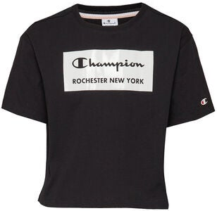 Champion Kids Crewneck Croptop, Black Beauty