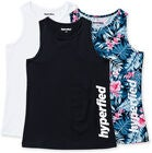 Hyperfied Split Tank Top 3-pack, Black/White/Tropical Flower