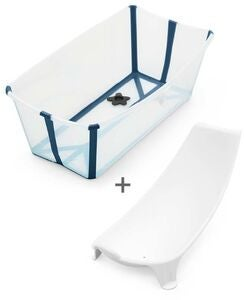 Stokke Flexi Bath® Badbalja & Badstöd, Transparent Blue