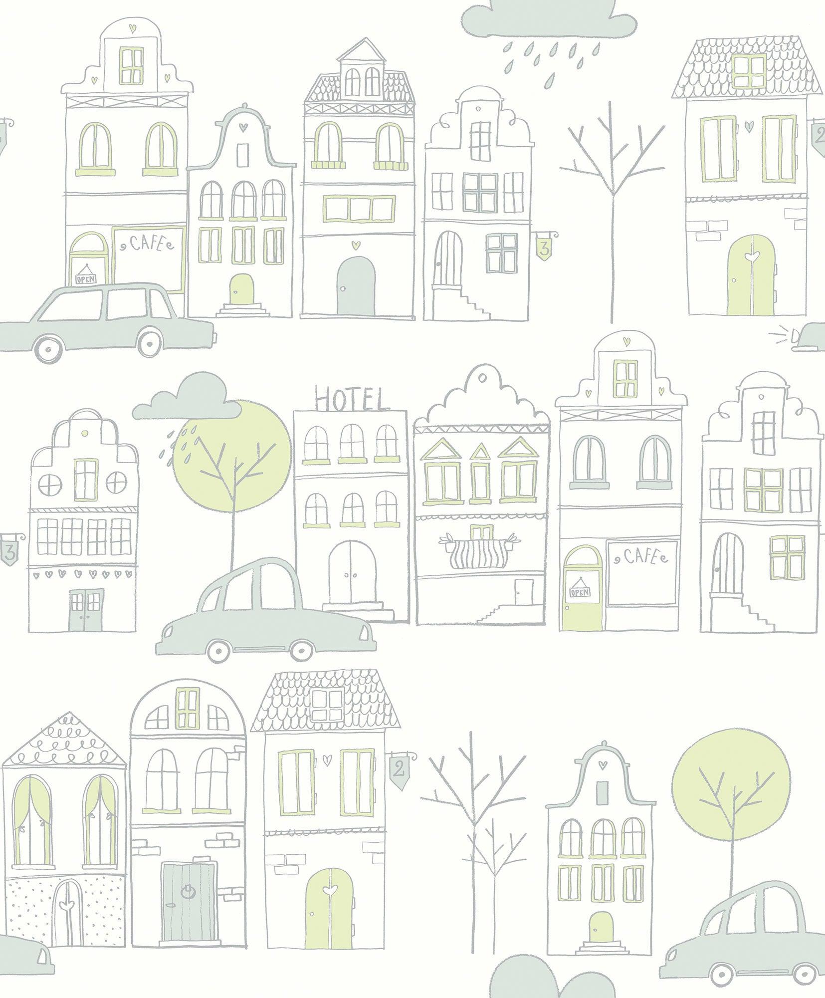 Fiona Walldesign Min Stad Tapet, Grön