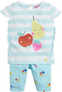 Tom Joule Topp & Leggings Set, Aqua Stripe Fruit