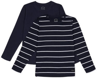 Luca & Lola Abel Långärmad T-Shirt 2-pack, Navy/Stripes