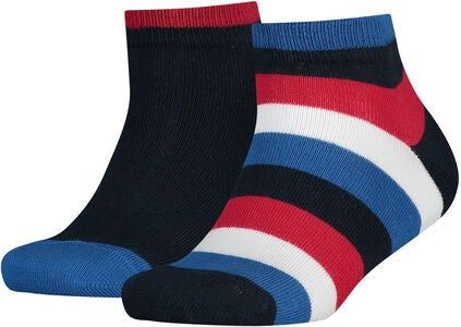 Tommy Hilfiger Basic Stripe Quarter Strumpa 2-Pack, Midnight Blue