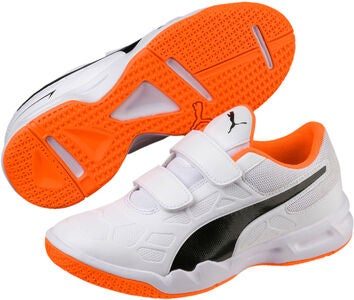 Puma Tenaz V Fotbollsskor JR, White/Orange