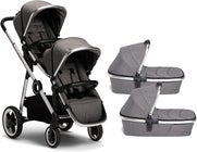 Beemoo Twin Travel+ 2020 Tvillingvagn, Dark Grey