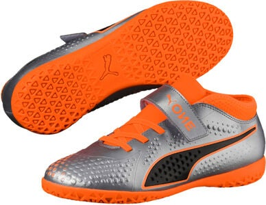 Puma ONE 4 Syn IT V Fotbollsskor JR, Silver/Orange
