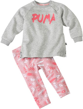 Puma Minicats Girls Aop Tröja och Leggings, Light Grey Heat