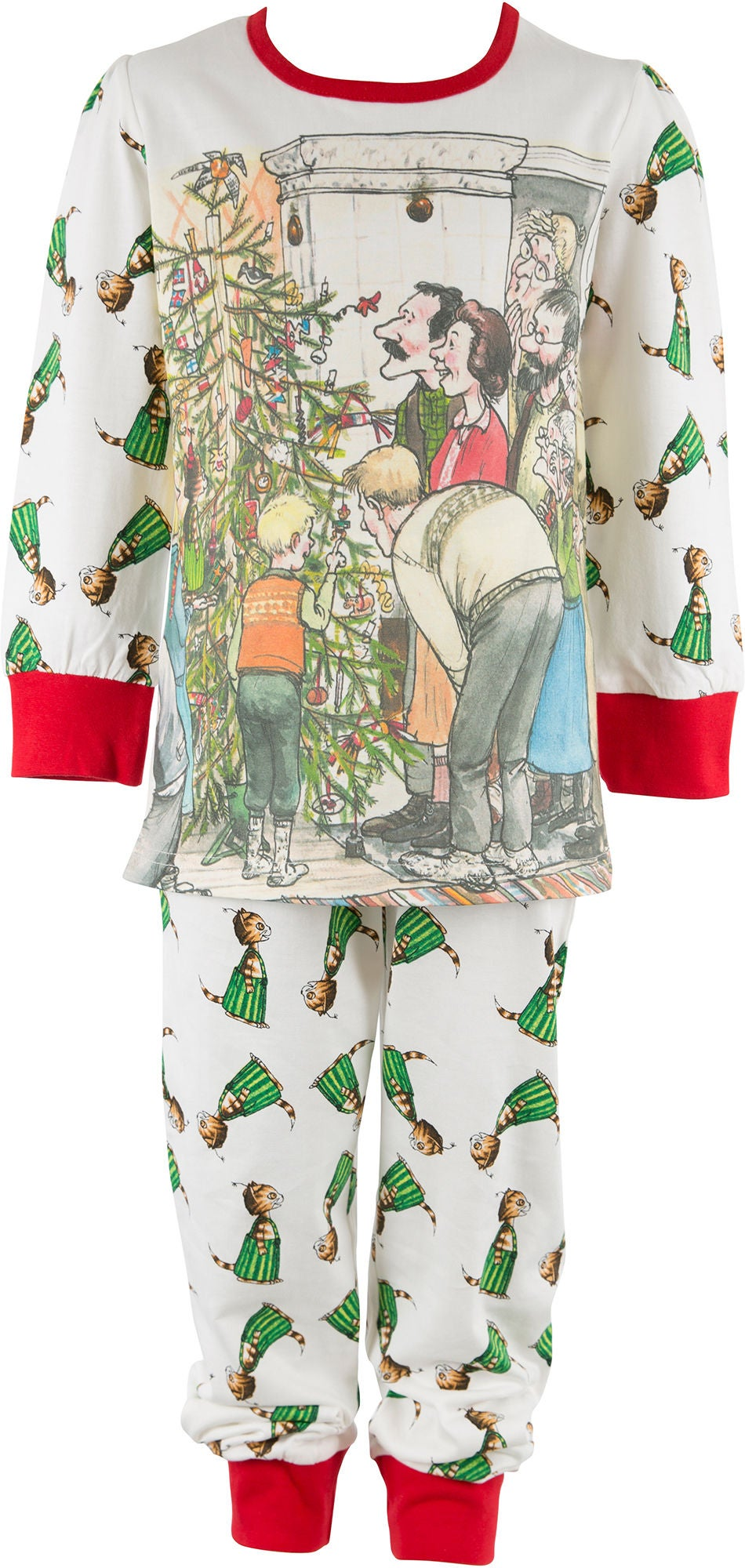 Pettson och Findus Pettson & Findus Pyjamas, Off White/Red 110-116