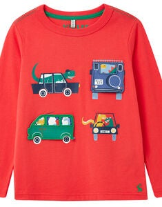 Tom Joule Chomp T-shirt, Red Vehichles