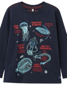 Tom Joule Raymond Självlysande T-shirt, Navy Sea Creatures