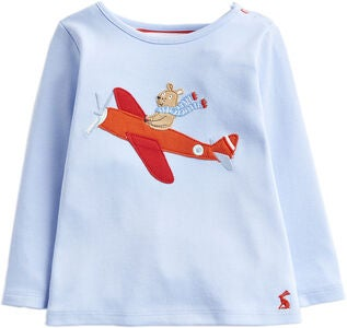 Tom Joule Applique Topp, Blue Flying Bear
