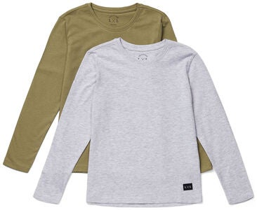 Luca & Lola Abel Långärmad T-Shirt 2-pack, Grey Melange/Brown