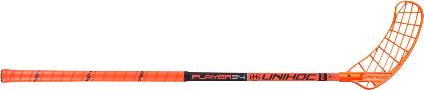 Unihoc Player 34 Innebandyklubba Höger, Neon/Orange/Svart