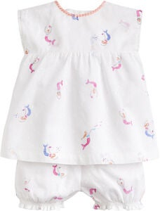 Tom Joule Topp & Shorts, White Mini Mermaids