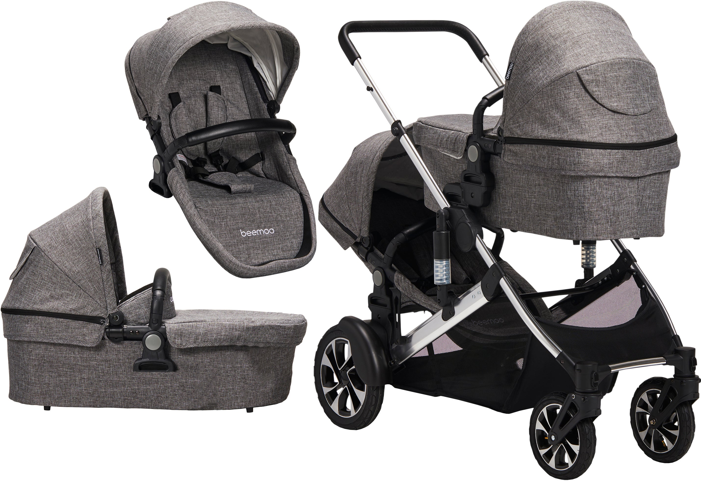 Beemoo Maxi Travel Lux II Tvillingvagn, Grey/Silver
