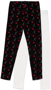 Luca & Lola Venetia Långa Leggings 2-pack, Black/Red