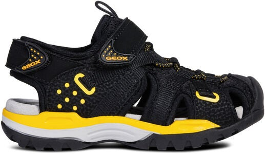 Geox Borealis Sandal, Black/Yellow