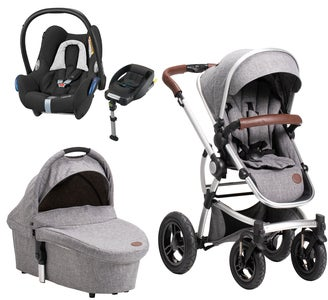 Petite Chérie Lively 2 Duovagn, Grey Melange + Maxi Cosi Travelsystem