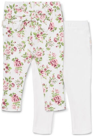 Petite Chérie Atelier Celestina Leggings 2-Pack Bow, White/Flowers