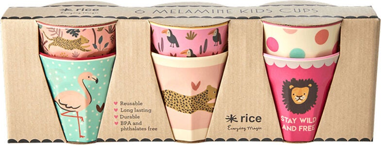 Rice Mugg Melamin Liten Jungle Print 6-pack, Pink