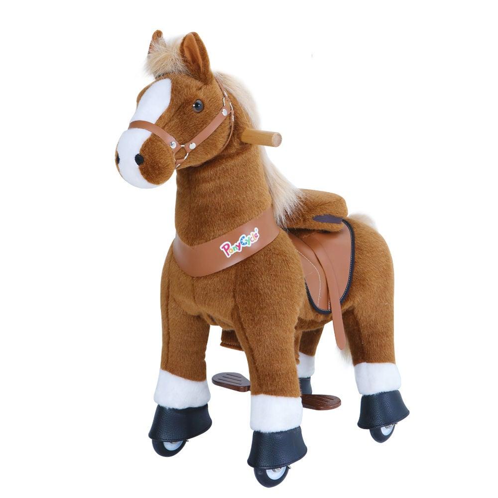 PonyCycle Ride-On Häst Stor, Brun/Vit