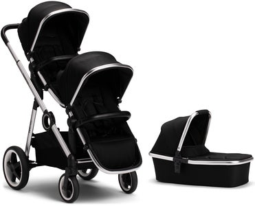 Beemoo Twin Travel+ 2019 Syskonvagn, Black + Liggdel