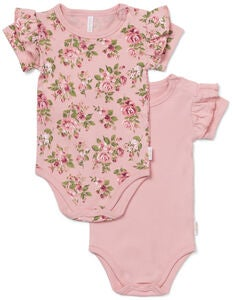 Petite Chérie Atelier Catrin Body 2-Pack, Pink/Flowers