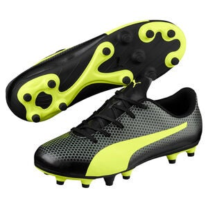 Puma Spirit FG Fotbollsskor JR, Black/Yellow/Grey