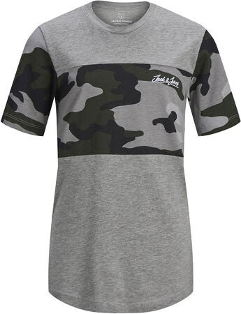 Jack & Jones Camopark T-Shirt, Light Grey Melange