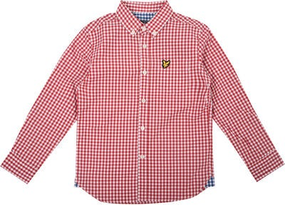 Lyle & Scott Junior Gingham Check Skjorta, Royal Red