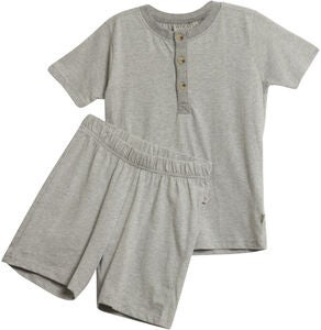 Wheat Short SS Pyjamasset, Melange Grey