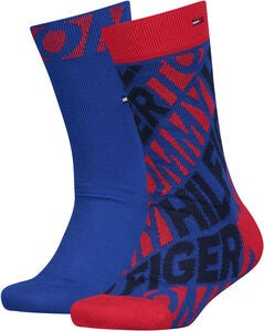 Tommy Hilfiger Diagonal Strumpa 2-pack, Red/Blue