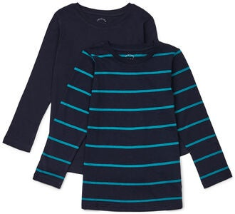 Luca & Lola Nario Långärmad T-Shirt 2-pack, Green/Navy Stripes