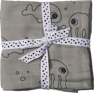 Done By Deer Swaddler Sea Friends 120x120 2-pack, Grey