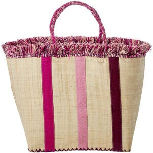 Rice Raffia Shoppingväska, Rosa