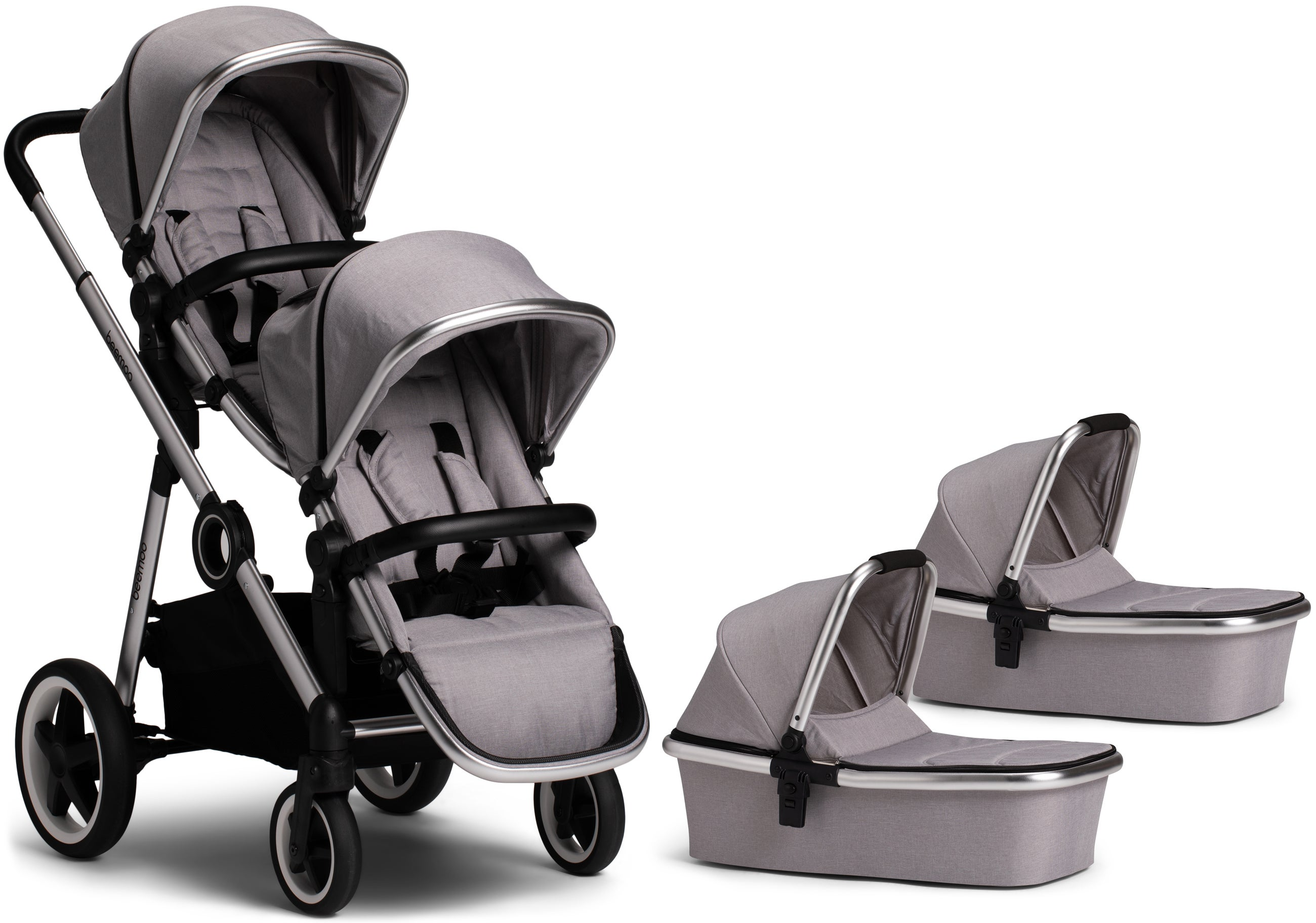 Beemoo Twin Travel+ 2019 Tvillingvagn, Light Grey