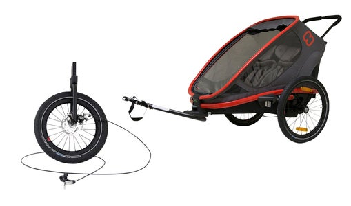 Hamax Outback One Cykelvagn + Joggingkit, Red/Charcoal
