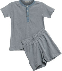 Wheat Short SS Pyjamasset, Dusty Blue