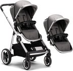 Beemoo Twin Travel+ 2020 Syskonvagn, Dark Grey