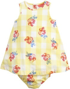 Tom Joule Klänning & Trosa Set, Yellow Gingham Floral