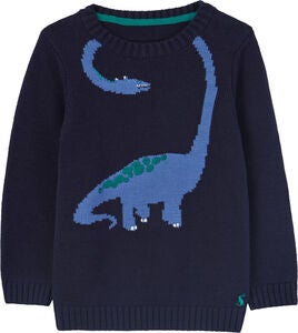 Tom Joule Wraparound Dino Intarsia Jumper, Navy Neck Dino